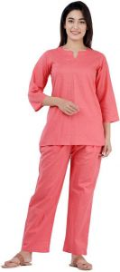 Women Plain Pink Top & Pyjama Set
