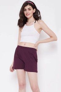 Clovia 100% Cotton Rich Boxer Shorts for Women & Girls (Purple)
