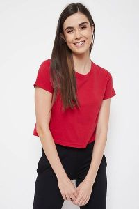 Clovia Cotton Chic Basic Short Sleeve Crop Tees for Women & Girls (Red)