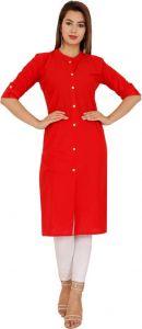 Women Solid Cotton Blend Straight Kurta (Red)