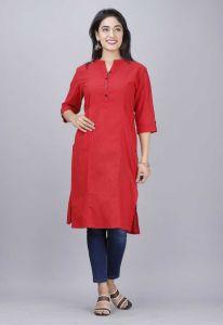 Women Solid Pure Cotton Straight Kurta  (Red)