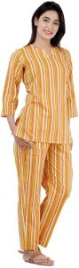 Women Striped Yellow Top & Pyjama Set
