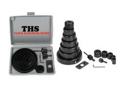 TAHER HARDWARE 16PCS Metal Alloys Wood Hole Saw Cutting Set Having Round Circular Cutter (Black) (Pack of 1)