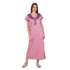 Kismat Fashion Printed Pink Hoisary Cotton Long Nighty