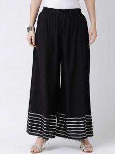Flared Women Black Rayon Trousers