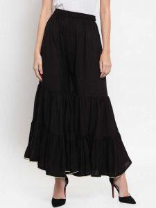 Flared Women Rayon Trousers (Black)
