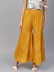 Flared Women Rayon Trousers (Yellow)