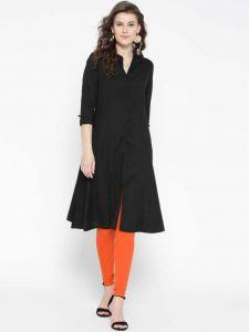 Women Casual Solid Cotton Rayon Blend Front slit Kurta (Black)