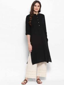 Women Solid Cotton Rayon Blend Straight Kurta(Black)