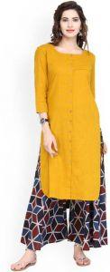 Women Solid Cotton Blend Straight Kurta(Yellow)