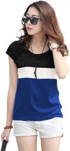 Striped Women Round Neck Dark Blue T-Shirt