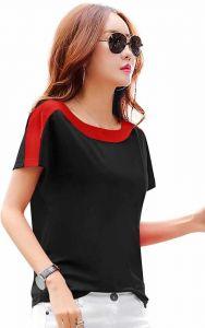 Color Block Women Round Neck Black T-Shirt