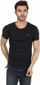 Solid Men Round Neck Black T-Shirt (Pack-1)