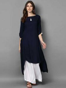 Women Solid Rayon High Low Kurta(Blue)