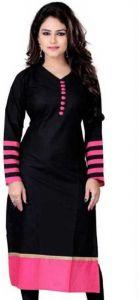 Jankisilkmill Women Solid Cotton Silk Straight Kurti (Black)
