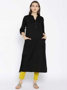 Women Solid Cotton Rayon Blend Straight Kurta(Black) | (Pack of 1)