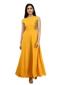 Jazbay Trending & Fashionable Full Length Full Stitched Solid Western Flared Long Dress/Gown For Women (Pack Of 1)