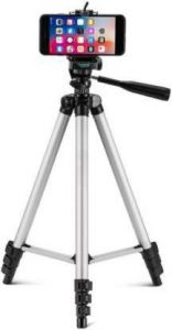 YadavEnterprises Camera Stand Tripod With 3-Way Head Tripod for Canon Nikon Digital Camera DV Camcorder, Tripod 3110 with Mobile Phone holder mount for all Smartphones Tripod Kit (Silver) | (Supports Up to 1500 g)