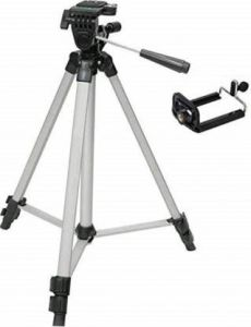 YadavEnterprises Adjustable Aluminum portable Lightweight Camera Stand ( 3.8 feet ) Tripod (Black & Silver) (Supports Up to 1500 g)