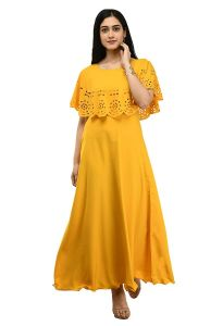 Jazbay Trending, Stylish & Fashionable Full Length For Casual, Party, Wedding Maxi & Regular Wear Dress/Gown For Women (Pack Of 1) (Yellow)