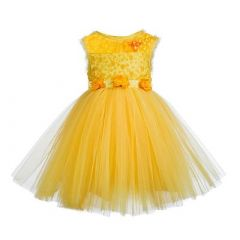 Baby Girl's Summer Kids Sequined Sleeveless Floral Applique Short Balloon Flared Party Wear Dress (Yellow)