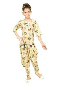 The Crown Designer Printed Cotton Linen Blend Top and Bellon Pant for Girls (Yellow)