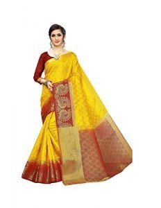 Sakhi Fashion Embozz With Extra Ordinary Jari Work Saree With Blouse Piece For Women