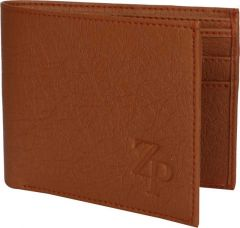 Artificial Leather Wallet, 10 Card Slots For Men (Tan) (Pack Of 1)